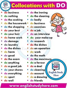 English Collocations - DO - English Study Here English Phonics, Learn English Grammar, English Writing Skills, English Vocabulary Words, Learn English Words, English Idioms, English Phrases, English Study, English Lessons