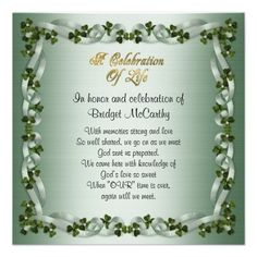 Memorial Service Announcement Orchids 5 X 7 Invitation Card