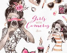 This is an especially glamour watercolor collection includes Girls with cameras, handbags, shoes, sunglasses, lipsticks, bows, coffee cup, purse and more. Perfect graphic for photographer logo, fashion projects, brand identity, invitations, cards, photos, posters, wallarts, quotes and