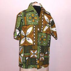 24e2557b4 1960s Vintage Men's Hawaiian Tiki Print Shirt by Rai Nani Size Medium Falls  Avenue Vintage Fashion