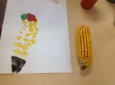 Children brought corn, gourds home after a trip to the pumpkin patch and created their own provocation at paint