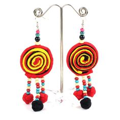 Handmade Lollipop Style Earrings Chandelier Cross Dangle Hoop Christmas Earrings