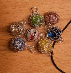 wire crochet glass ball pendants