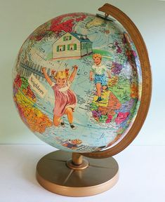 If you ever come across a vintage globe for sale that is no longer geographically accurate, don't pass it up. Instead, buy it! Then when you're feeling crafty, use it as the canvas for this worldly art project.