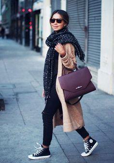 Skinny+Jeans+kombinieren:+Herbsttauglich+mit+Shirt,+Mantel+und+XXL-Schal
