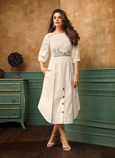 Latest indian party wear kurti for women. Shop online in india, uk, usa, canada. Grab this cotton satin thread work work party wear kurti. Simple Kurti Designs, Kurti Neck Designs, Kurta Designs Women, Kurti Designs Party Wear, Design Of Kurti, Latest Kurti Designs, Indian Designer Outfits, Designer Dresses, Designer Kurtis