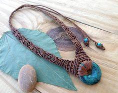 Turquoise macrame necklace macrame stone micro by SelinofosArt
