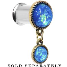 00 Gauge Double Aqua Imitation Opal Dangle Plug | Body Candy Body Jewelry