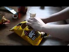A clever way to open a bag of snacks