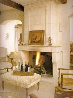 Divine limestone fireplace