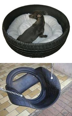 diy outdoor furniture 20 Garden Decorations and Kids Toys Made with Recycled Tires Tire Furniture, Diy Outdoor Furniture, Tire Garden, Garden Kids, Tire Craft, Reuse Old Tires, Outdoor Dog Bed, Bike Room, Tire Swings