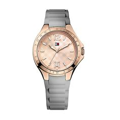 GREY STRAP ROSE GOLD FACE WATCH