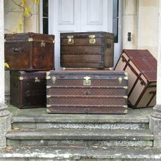 Wonderful, late 19th century French Louis Vuitton trunk,with its original woven fabric ( with the logo) , brass studded and with the leather edge. So Downton Abbey http://www.brownrigg-interiors.co.uk/antique-luggage-and-leather-goods/antique-trunks-leather-crocodile-canvas-and-metal/rare-19th-cent-woven-fabric-louis-vuitton-trunk-coffee-table-27-60-refno-7627/