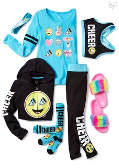 Hot New Fashion & Latest Clothing Trends For Girls Team emoji hoodie, leggings, sports bra, tops and more bring good Cheer Outfits, Cute Girl Outfits, Kids Outfits Girls, Sporty Outfits, Cute Outfits For Kids, Cute Summer Outfits, Athletic Outfits, Dance Outfits, Sporty Girls