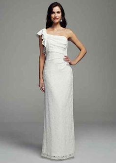 Long Wedding Dress Under 100 With Single D Strap Lace Bodice