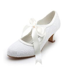 Women's Shoes Satin Stretch Satin Spring Summer Mary Jane Spool Heel Ribbon Tie for Wedding White Ivory - AUD $42.03 ! HOT Product! A hot product at an incredible low price is now on sale! Come check it out along with other items like this. Get great discounts, earn Rewards and much more each time you shop with us!