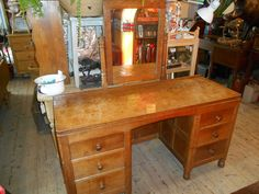 Robert (Mouseman) Thompson Oak Dressing Table - Antiques Atlas Dressing Table Antique, Robert Thompson, Vanity, Desk, Antiques, England, Furniture, Home Decor, Dressing Tables