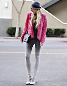 pink suit jacket! Luvinnn the leggings! Moderne Outfits, Pink Suit, Girly, Fashion Articles, Blazer, Jeans Style, Everyday Fashion, High Fashion, Fashion Looks