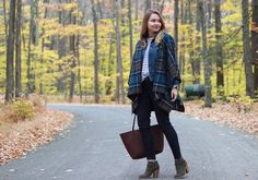 Fall weekend style in Old Navy plaid poncho, stripes and denim