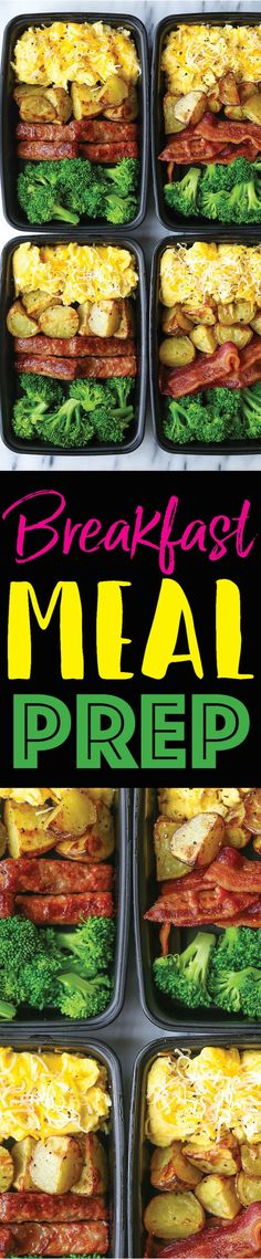 Breakfast Meal Prep - Now you can sleep in and eat a filling and hearty breakfast ALL WEEK LONG! Eggs, bacon or sausage, roasted potatoes and broccoli!