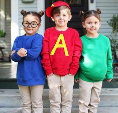 No-Sew DIY Alvin and the chipmunks Kids Costume Family Costumes For 3, Disney Costumes For Kids, Diy Halloween Costumes For Kids, Kids Costumes Girls, Boy Costumes, Baby Halloween, Costume Ideas, Halloween 2020, Disney Boy Costume