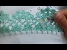 Barrado de crochê de canto para caminho de mesa - YouTube