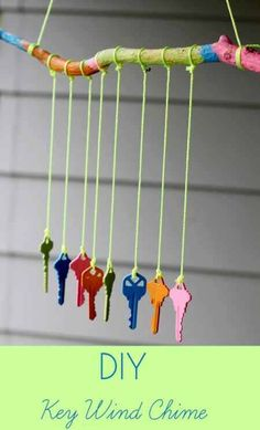 Discarded Keys Wind Chimes DIY........  #GreenLiving #Vintage #DIY #DontThrowAway #Discarded #Handmade #Craft #Recycle #Repurpose #ReUse #Upcycle #Art #Sculpture #WindChimes Backyard For Kids, Diy For Kids, Crafts For Kids, Backyard Ideas, Backyard Camping, Landscaping Ideas, Garden Landscaping, Diy Crafts, Recycled Crafts Kids
