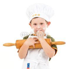 kleiner Bäcker mit Teigrolle