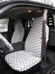 1 Set of Grey and White Chevron  Print  Seat Covers by ChaiLinSews, $65.00