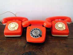 3 phones orange retro seventies  toy by EphemereIntemporel on Etsy
