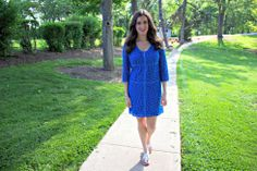 Laundry by Shelli Segal Blue Zipper Lace Dress with Jack Rogers Navajo Sandals in Silver   Blue Summer Dress