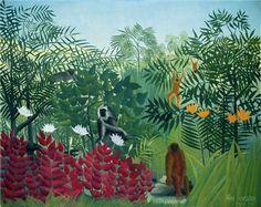 Douanier Rousseau - Art Naïf - Jungle & Monkeys.