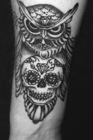 Owl & skull tattoo by John Lewis of Life & Death Tattoos ...