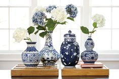 Blue and white porcelain is a great way to add Asian flair, and it's beautiful in any interior, from minimally modern to traditional. For the biggest impact, group a collection of vases together on a table. - House decoration ideas