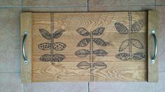 Wood burned Wooden tray