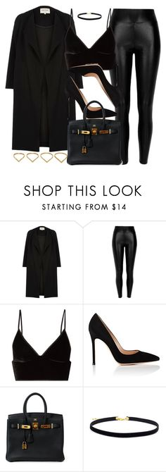 """""""Style #11311"""" by vany-alvarado ❤ liked on Polyvore featuring River Island, Black, T By Alexander Wang, Gianvito Rossi, Hermès and Ana Khouri"""