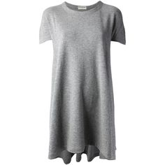 BALENCIAGA Loose Fit T-Shirt Dress (325 AUD) ❤ liked on Polyvore featuring dresses, tops, vestidos, shirts, grey t shirt dress, loose fitting dresses, loose t shirt dress, loose dresses and gray dresses