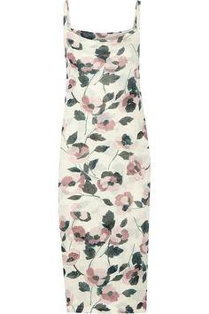 Printed ribbed stretch-jersey midi dress #printdress #offduty #women #covetme #suno