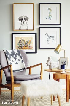 Thinking of redoing your living room? Start with what you love. Here, whimsical animal prints in beautiful frames add a pop of personality to the space. A retro accent chair tailored in neutral upholstery paired with a fashionable foot stool tie the room together and give it a unique twist. Shop HomeGoods to discover your home's new look!
