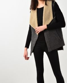 Knitted faux fur vest ♥The beautiful classics, fashion trends online at bosroom.com #vibes #fauxfur #furjacket #fauxfurvest #leather #fauxfurjacket #outer #winter #fall #cold #freezing #move