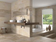 Matt Beige Stone Effect Ceramic Kitchen/Bathroom Wall and Floor Tiles. Bathroom Flooring, Bathroom Wall, Modern Bathroom, Relaxing Bathroom, Wall And Floor Tiles, Wall Tiles, Mosaic Tiles, Cream Bathroom, Bathroom Inspiration