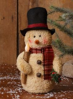 ff58cc1f5f9ad New Country Primitive Tea Stained Top Hat Snowman Doll Battery Candle Tall