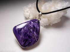 AA Grade Charoite Pendant in Sterling Silver. by SolsticeStones