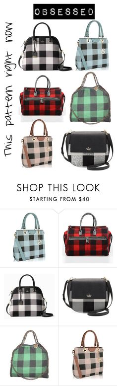 """""""Give me all things Buffalo Check"""" by kris10sparkles ❤ liked on Polyvore featuring MKF Collection, Dsquared2, Kate Spade, STELLA McCARTNEY, handbags, buffaloplaid and buffalocheck"""