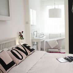 bedroom, white, love