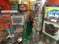antique and vintage perfume bottles, tabacco tea coffee biscuits and chocolate tins for sale at Heaths old wares collectables and industrial antiques 12 station street bangalow ph 0266872222 Coffee Biscuits, Vintage Perfume Bottles, Tins, Ph, Industrial, Homemade, Chocolate, Street, Antiques
