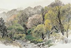 Korean Painting, Chinese Painting, Chinese Art, Watercolor Landscape, Landscape Paintings, Watercolor Art, Landscapes, Oriental, Scenery