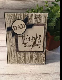 Father's Day Card, Thanks Dad Card, Woodgrain, Fancy Handmade Card, You're the Best, Stampin' Up! Designs by LaurelTreeDesignCo on Etsy