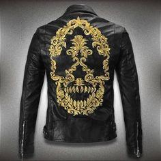 Cheap Stile punk nuovo 2015 3d del cranio giacca di pelle uomini tyrant  ricamo biker  9af40f40ccd10