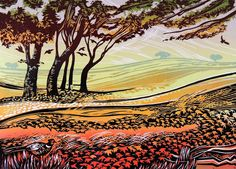 Fields of Amber ~ Linocut ~ Rob Barnes ~ Linocuts are printed on a large Columbian Press of 1856.